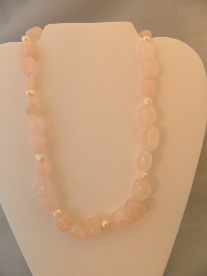 Arden Jewelry Design rose quartz and pearl necklace